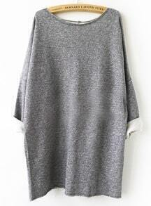 Grey Batwing Sleeve Loose Sweatshirt