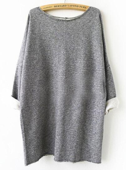 Grey Batwing Sleeve Loose Sweatshirt