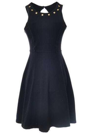 Black Sleeveless Rivet Backless Pleated Dress