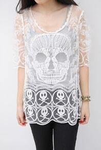 White Long Sleeve Skull Embroidery Hollow Lace Blouse