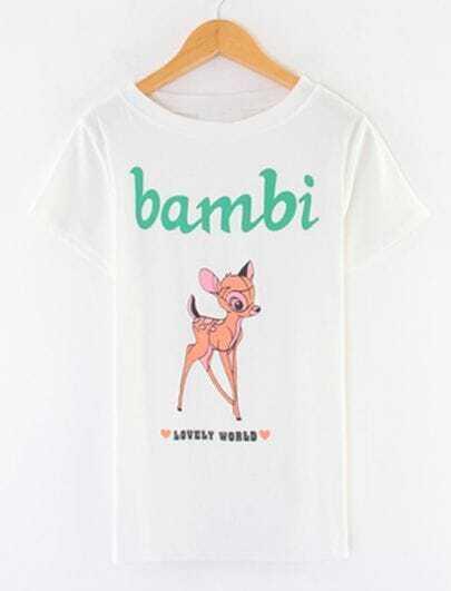 White Short Sleeve Bambi Deer Print T-shirt