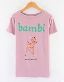Pink Short Sleeve Bambi Deer Print T-shirt