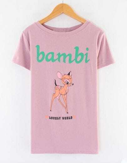 Pink Short Sleeve Bambi Deer Print T-shirt