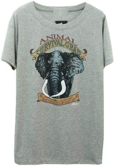 Grey Short Sleeve Elephant Print Loose T-Shirt