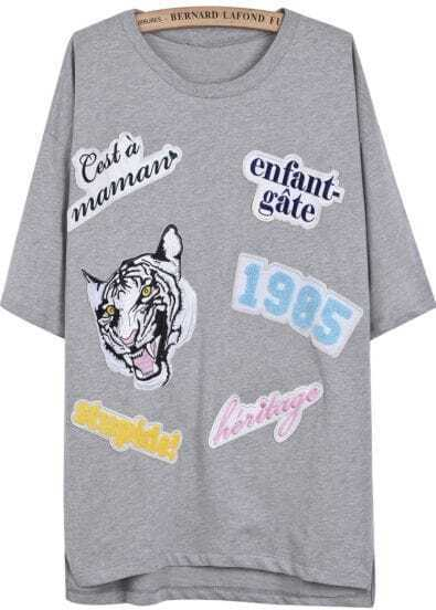 Grey Short Sleeve Tiger Letters Pattern T-Shirt