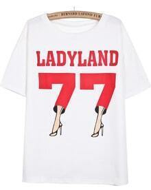 White Short Sleeve High Heeled Shoes 77 Print T-Shirt