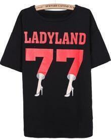 Black Short Sleeve High Heeled Shoes 77 Print T-Shirt
