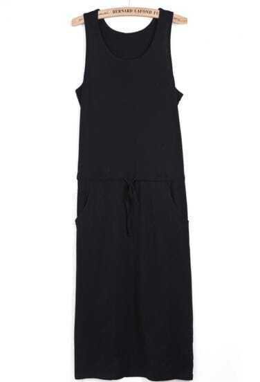 Black Sleeveless Drawstring Side Pockets Tank Dress