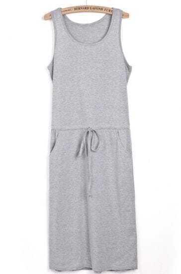 Grey Sleeveless Drawstring Side Pockets Tank Dress