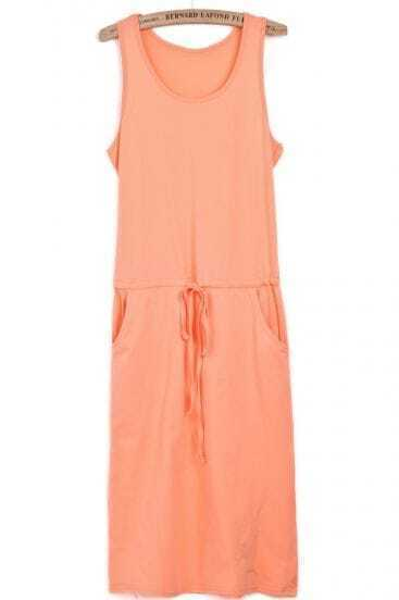 Orange Sleeveless Drawstring Side Pockets Tank Dress