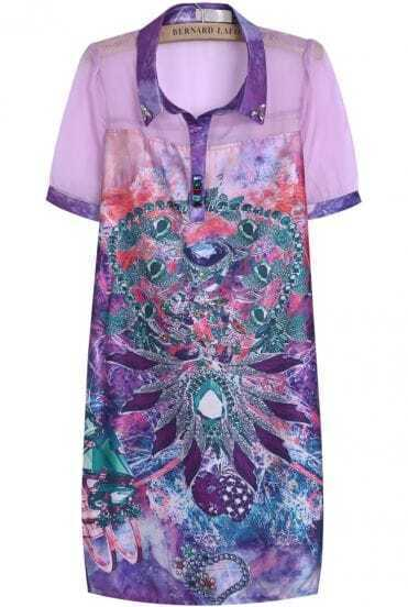 Purple Short Sleeve Sheer Diamond Print Dress