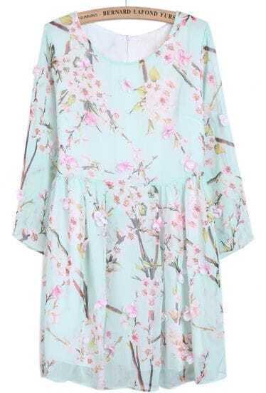 Light Blue Long Sleeve Peach Blossom Print Dress
