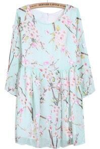 Light Blue Long Sleeve Peach Blossom Print Dress
