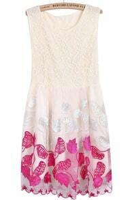 Apricot Sleeveless Embroidered Lace Tank Dress