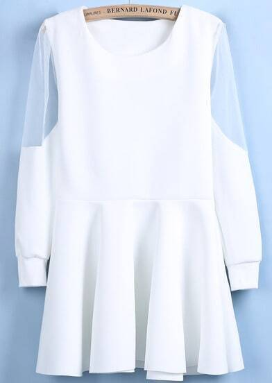 White Contrast Sheer Mesh Yoke Ruffle Dress