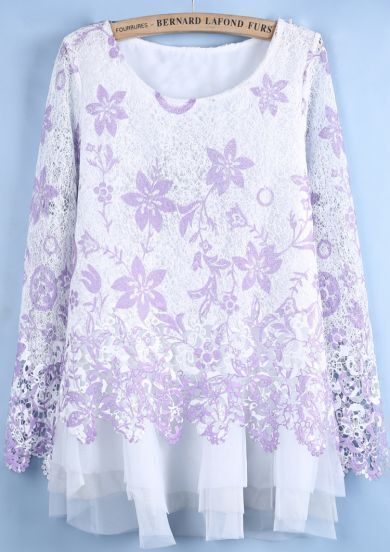 Purple Long Sleeve Lace Floral Mesh Yoke Dress