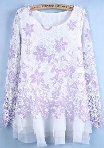 Purple Long Sleeve Lace Floral Mesh Yoke Dress