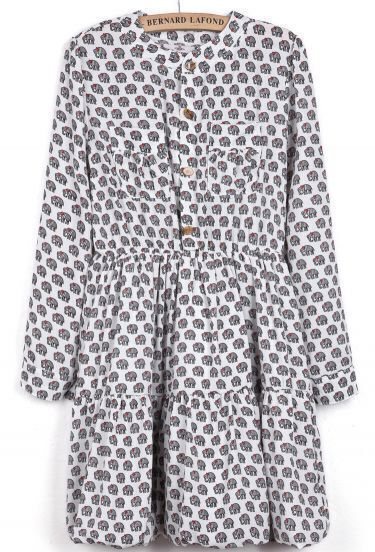 White Band Collar Elephants Print Pleated Dress