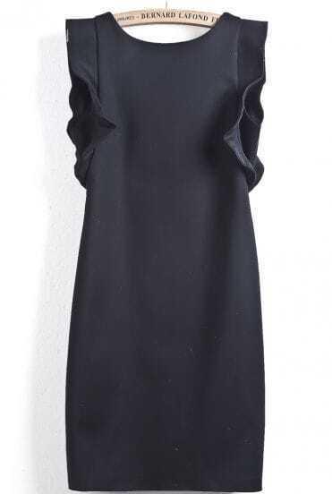 Black Sleeveless Ruffle Slim Bodycon Dress
