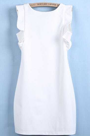 White Sleeveless Ruffle Slim Bodycon Dress