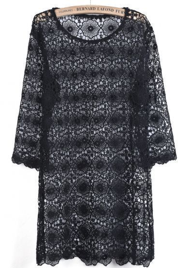Black Round Neck Hollow Lace Loose Dress
