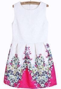 White Sleeveless Rose Red Floral Slim Dress