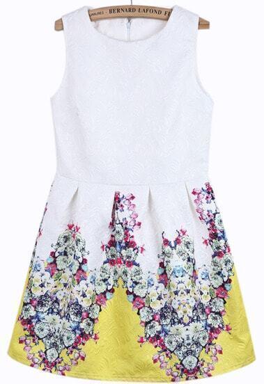 White Sleeveless Yellow Floral Slim Dress