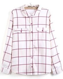 White Red Plaid Lapel Long Sleeve Pockets Blouse