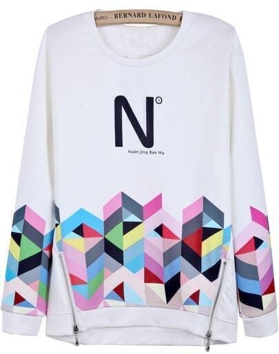 White Long Sleeve Geometric Print Side Zipper Sweatshirt