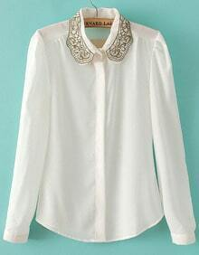 White Embroidered Lapel Long Sleeve Chiffon Blouse