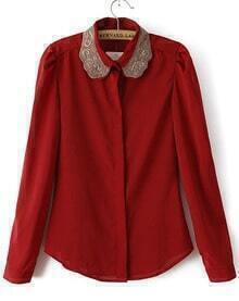 Red Embroidered Lapel Long Sleeve Chiffon Blouse