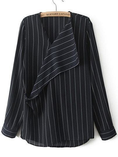 Blue V Neck Long Sleeve Vertical Stripe Blouse