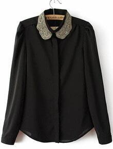 Black Embroidered Lapel Long Sleeve Chiffon Blouse