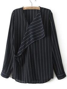 Blue V Neck Long Sleeve Vertical Stripe Blouse