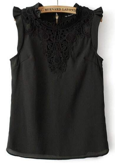 Black Round Neck Sleeveless Lace Embroidered Blouse