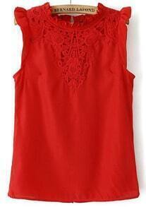 Red Round Neck Sleeveless Lace Embroidered Blouse