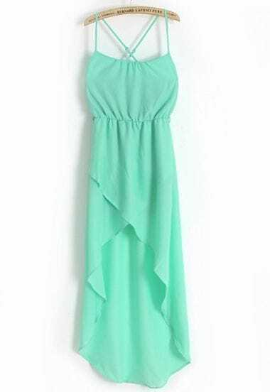 Green Spaghetti Strap Split Chiffon Dress