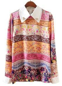 Orange Pink Long Sleeve Striped Floral Blouse