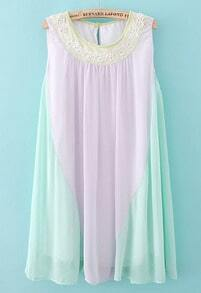 Purple Green Sleeveless Pleated Chiffon Dress