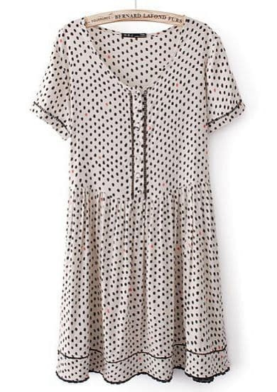 Beige Short Sleeve Polka Dot Pleated Dress