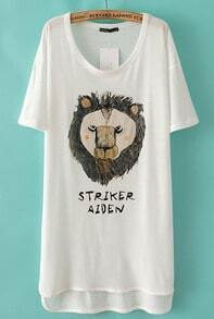 White Short Sleeve Lion Print High Low Dress