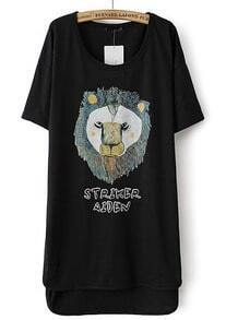 Black Short Sleeve Lion Print High Low Dress