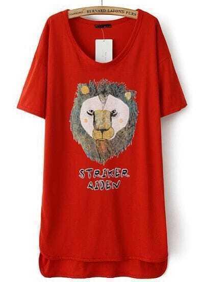 Red Short Sleeve Lion Print High Low Dress