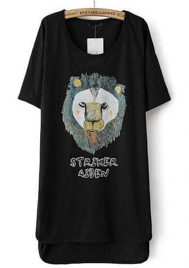 Black Short Sleeve Lion Print High Low Dress