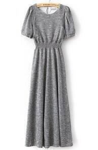 Grey Puff Sleeve Pleated Knit Long Dress