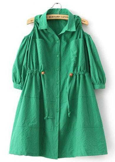 Green Off the Shoulder Drawstring Loose Dress