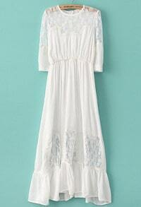White Half Sleeve Contrast Lace Chiffon Dress