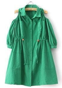 Green Off the Shoulder Drawstring Loose Dress