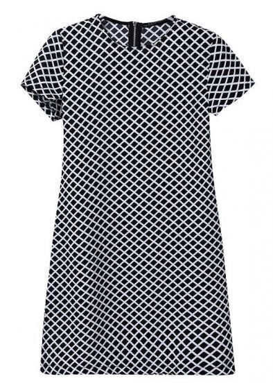 Black Short Sleeve Diamond Print Chiffon Dress