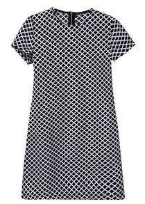 Black Short Sleeve Diamond Print Chiffon Dress